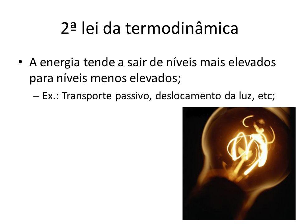 A energia tende a sair de níveis mais elevados para níveis menos elevados; – Ex.: Transporte passivo, deslocamento da luz, etc; 2ª lei da termodinâmic