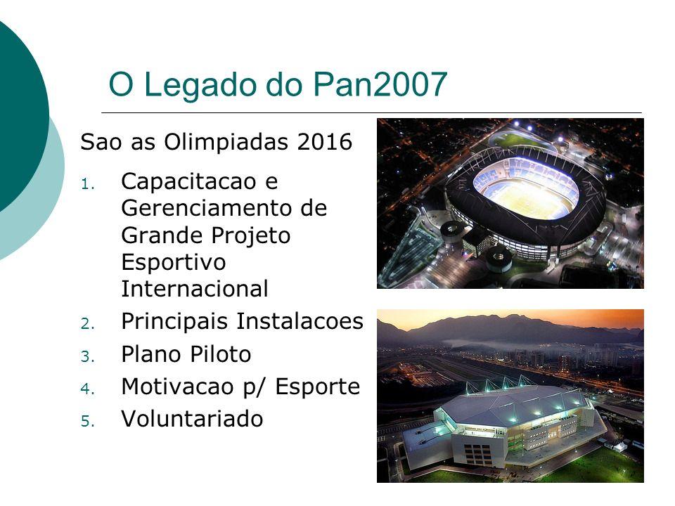 O Legado do Pan2007 1. Capacitacao e Gerenciamento de Grande Projeto Esportivo Internacional 2. Principais Instalacoes 3. Plano Piloto 4. Motivacao p/