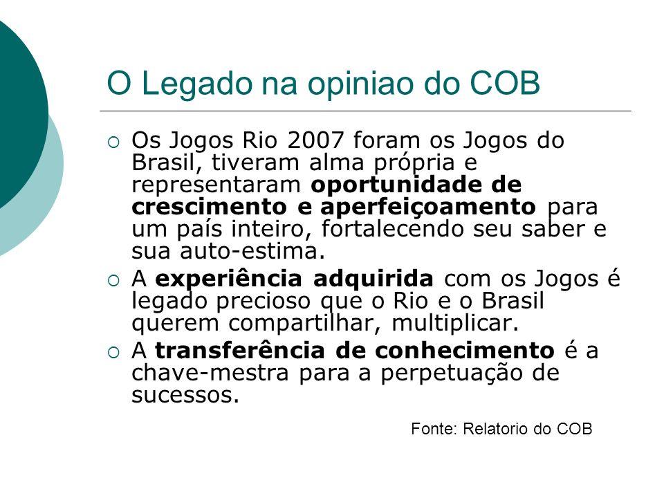 O Legado na opiniao do COB Os Jogos Rio 2007 foram os Jogos do Brasil, tiveram alma própria e representaram oportunidade de crescimento e aperfeiçoamento para um país inteiro, fortalecendo seu saber e sua auto-estima.