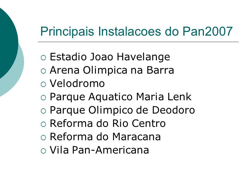Principais Instalacoes do Pan2007 Estadio Joao Havelange Arena Olimpica na Barra Velodromo Parque Aquatico Maria Lenk Parque Olimpico de Deodoro Reforma do Rio Centro Reforma do Maracana Vila Pan-Americana