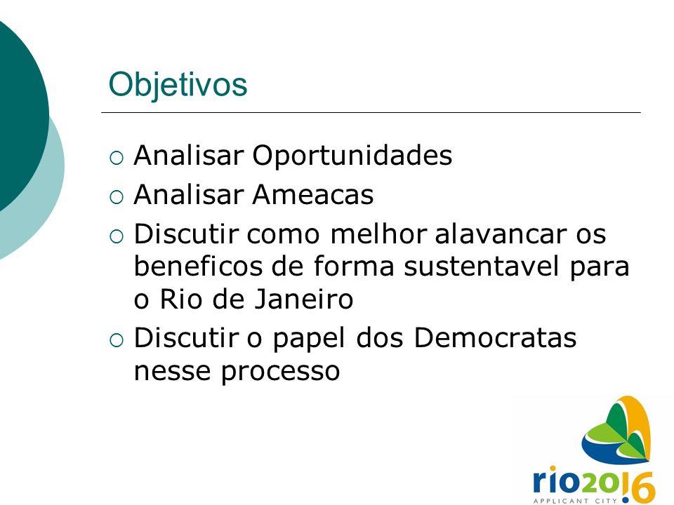 Objetivos Analisar Oportunidades Analisar Ameacas Discutir como melhor alavancar os beneficos de forma sustentavel para o Rio de Janeiro Discutir o pa