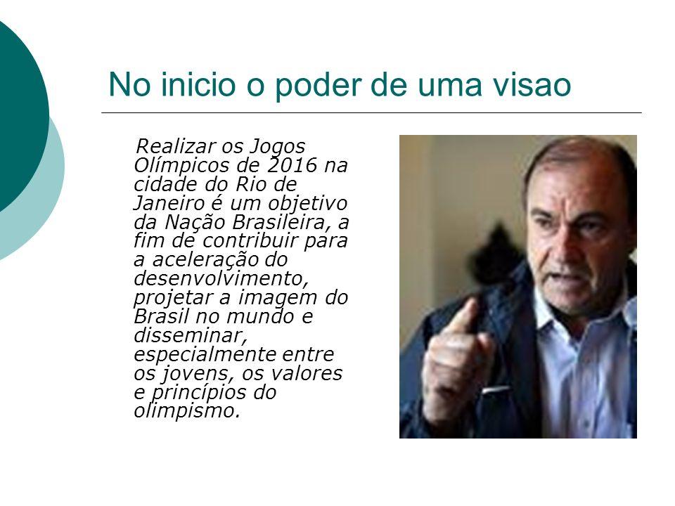 No inicio o poder de uma visao Realizar os Jogos Olímpicos de 2016 na cidade do Rio de Janeiro é um objetivo da Nação Brasileira, a fim de contribuir