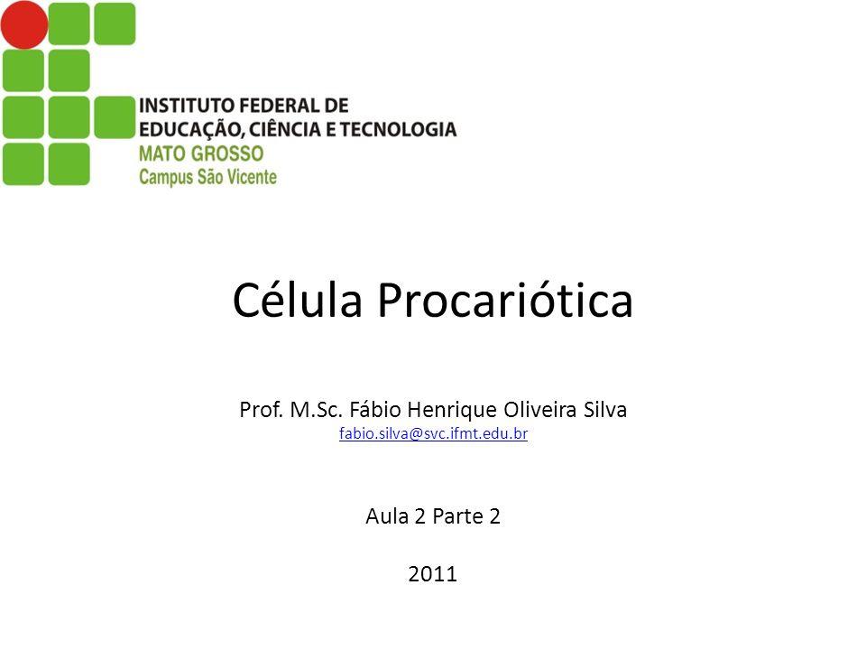 Célula Procariótica Prof. M.Sc. Fábio Henrique Oliveira Silva fabio.silva@svc.ifmt.edu.br Aula 2 Parte 2 2011 fabio.silva@svc.ifmt.edu.br