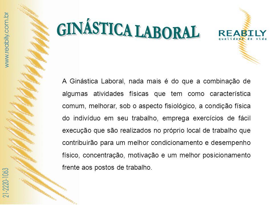 A Ginástica Laboral, nada mais é do que a combinação de algumas atividades físicas que tem como característica comum, melhorar, sob o aspecto fisiológ