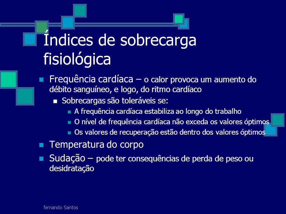 fernando Santos Índices de sobrecarga fisiológica Frequência cardíaca – o calor provoca um aumento do débito sanguíneo, e logo, do ritmo cardíaco Sobr