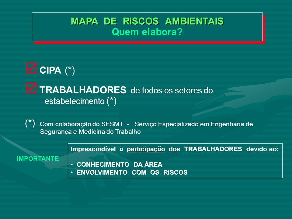 MAPA DE RISCOS AMBIENTAIS O significado PEQUENOMÉDIOGRANDE CÍRCULO = GRAU DE INTENSIDADE COR = TIPO DO RISCO VERDE Físicos VERMELHO Químicos MARROM Biológicos AMARELO Ergonômicos AZUL De Acidentes