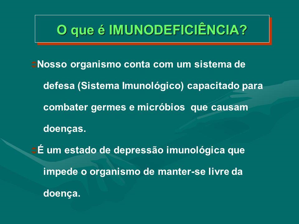 Dizemos que a Imunodeficiência é ADQUIRIDA quando não é congênita (ou seja de nascimento), nem devida a um desenvolvimento defeituoso do indivíduo.
