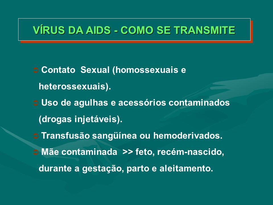 VÍRUS DA AIDS - COMO NÃO SE TRANSMITE Em reuniões com amigos Cumprimentando Em ônibus Em bebedouros Em sanitários Em chuveiros Em salas de aulas Em piscinas