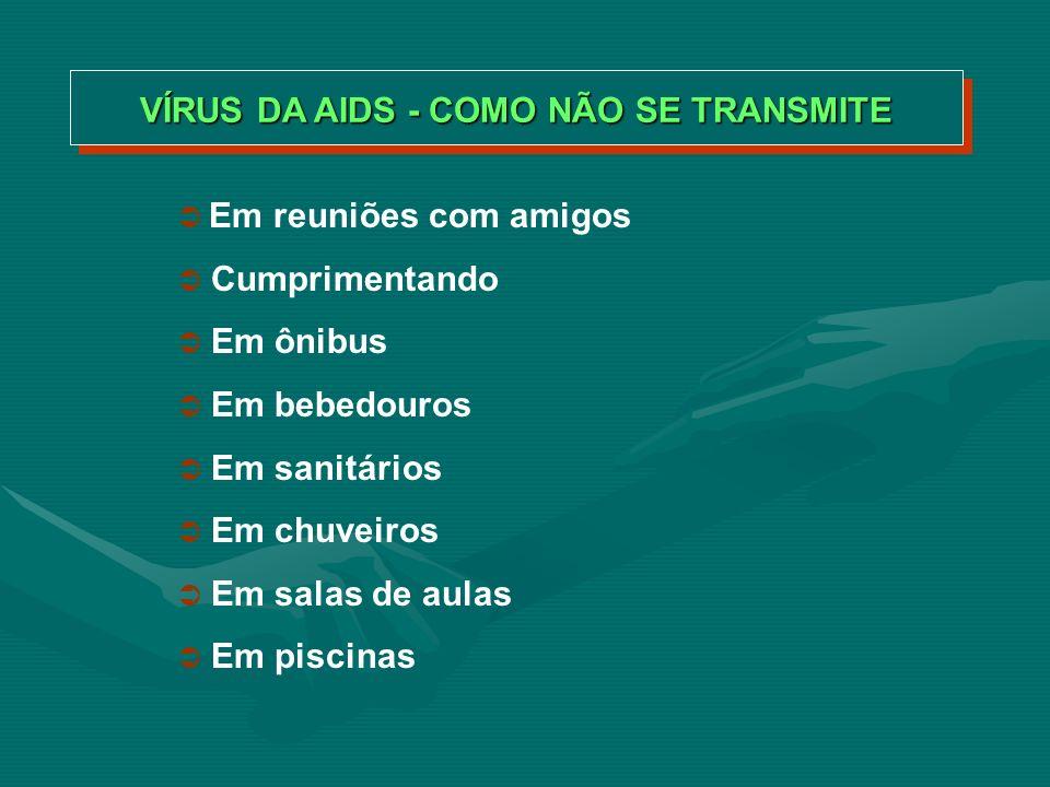 VÍRUS DA AIDS - COMO NÃO SE TRANSMITE Visitando hospitais Em utensílios domésticos Em provadores de roupas Doando sangue Em telefones públicos INEXISTENTE.