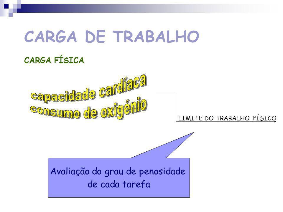 CARGA DE TRABALHO CARGA FÍSICA actividade física Consumo de energia Sistema Cardio-vascular Sistema Respiratório