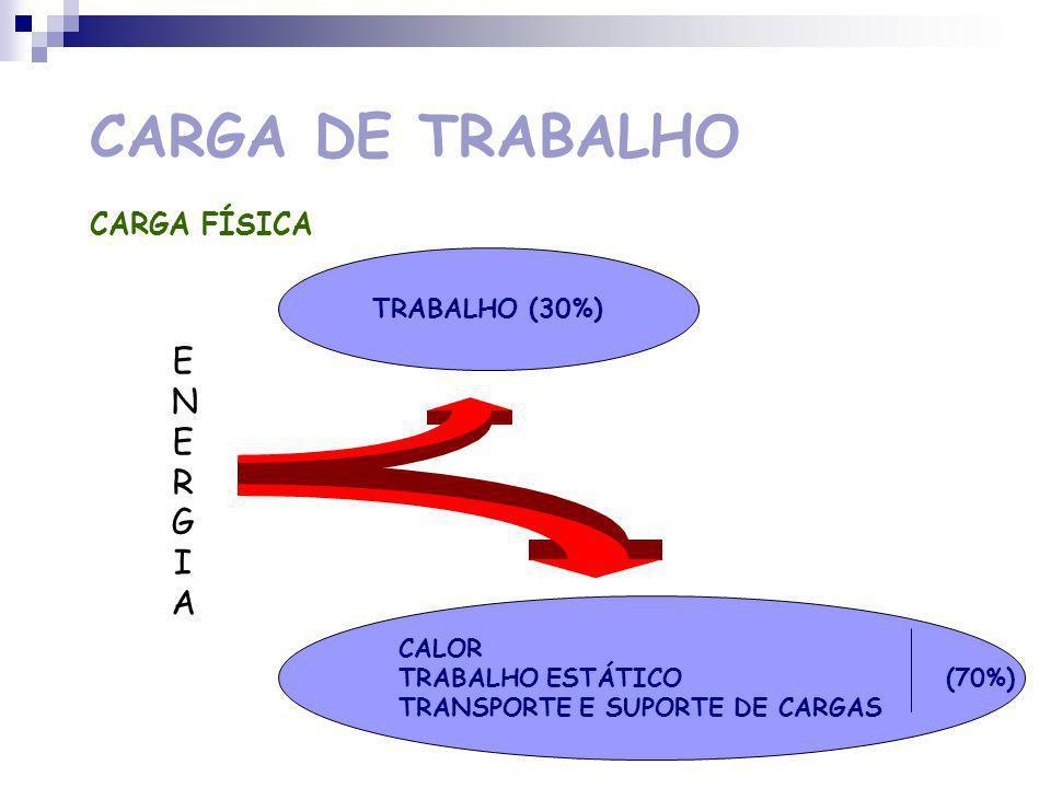 CARGA DE TRABALHO CARGA FÍSICA LIMITE DO TRABALHO FÍSICO Avaliação do grau de penosidade de cada tarefa