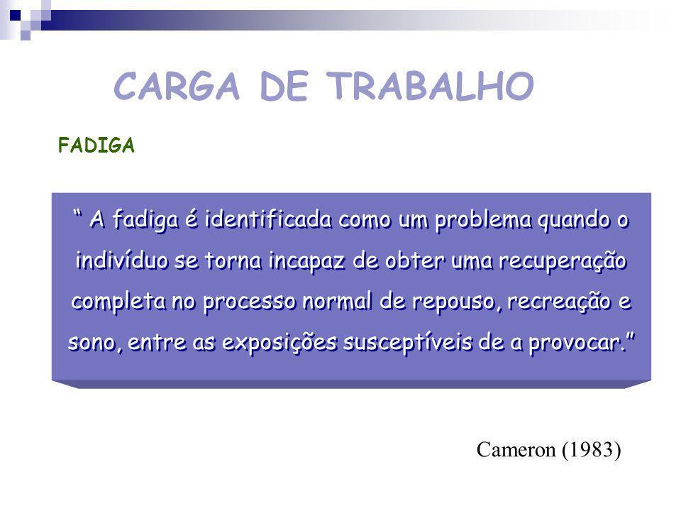 CARGA DE TRABALHO Efeitos da carga de trabalho CURTO PRAZOLONGO PRAZO Eficácia da Performance Fadiga Stress Envelhecimento