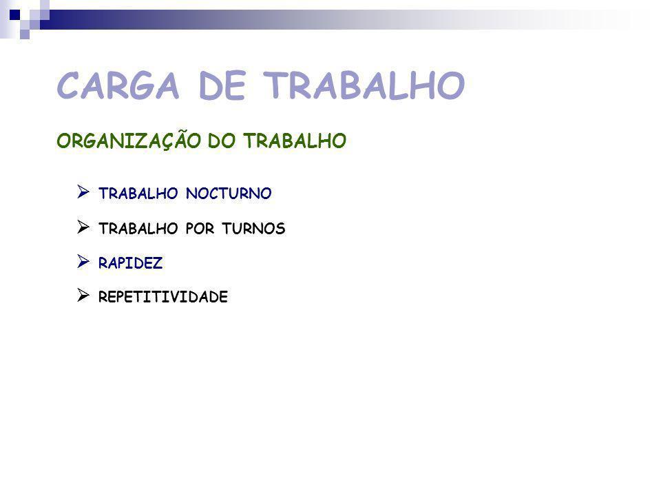 CARGA DE TRABALHO NATUREZA DA TAREFA TRABALHO FÍSICO ESTÁTICO TRABALHO FÍSICO DINÂMICO PRECISÃO DE DETALHES MONOTONIA DA TAREFA MODIFICAÇÕES TECNOLÓGICAS
