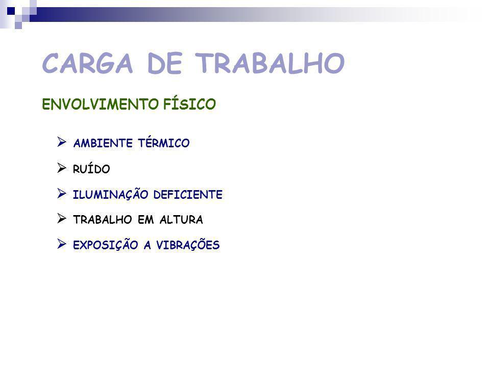 CARGA DE TRABALHO ORGANIZAÇÃO DO TRABALHO TRABALHO POR TURNOS TRABALHO NOCTURNO RAPIDEZ REPETITIVIDADE