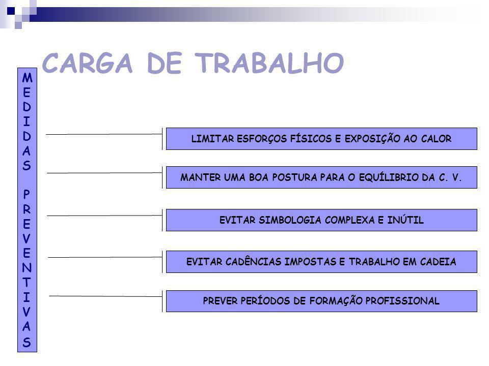 CARGA DE TRABALHO ENVOLVIMENTO FÍSICO RUÍDO AMBIENTE TÉRMICO ILUMINAÇÃO DEFICIENTE TRABALHO EM ALTURA EXPOSIÇÃO A VIBRAÇÕES