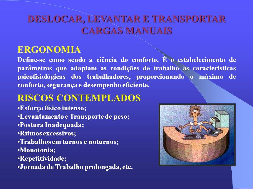 DESLOCAR, LEVANTAR E TRANSPORTAR CARGAS MANUAIS ERGONOMIA Define-se como sendo a ciência do conforto. É o estabelecimento de parâmetros que adaptam as