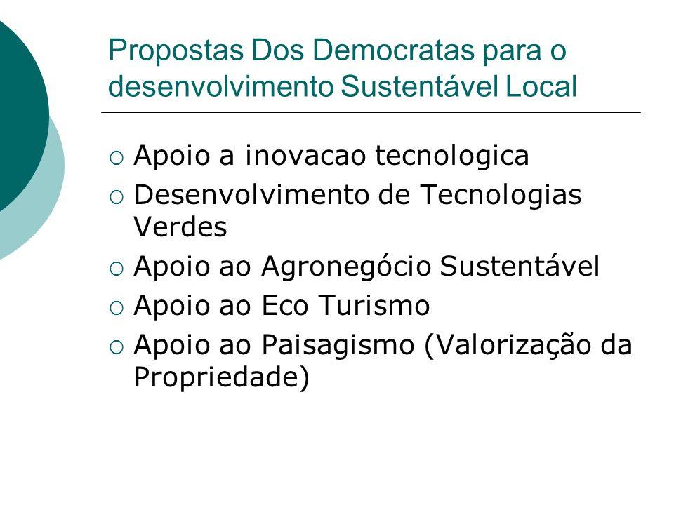Propostas Dos Democratas para o desenvolvimento Sustentável Local Apoio a inovacao tecnologica Desenvolvimento de Tecnologias Verdes Apoio ao Agronegó