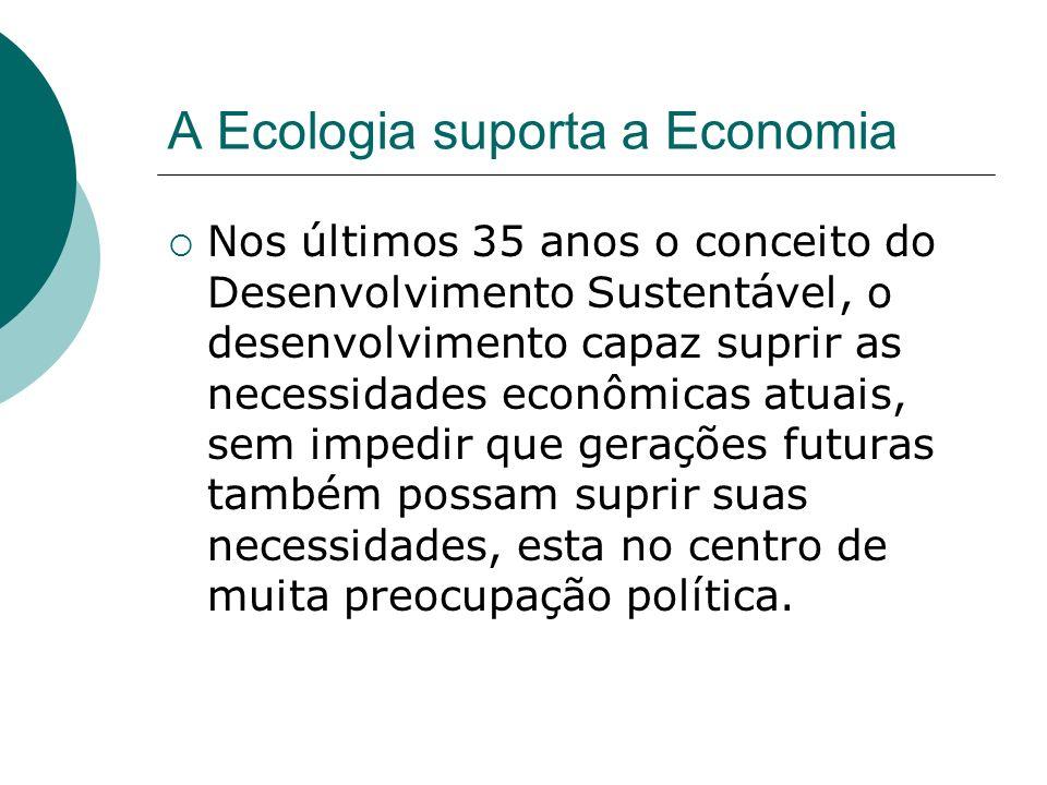 A Ecologia suporta a Economia Nos últimos 35 anos o conceito do Desenvolvimento Sustentável, o desenvolvimento capaz suprir as necessidades econômicas