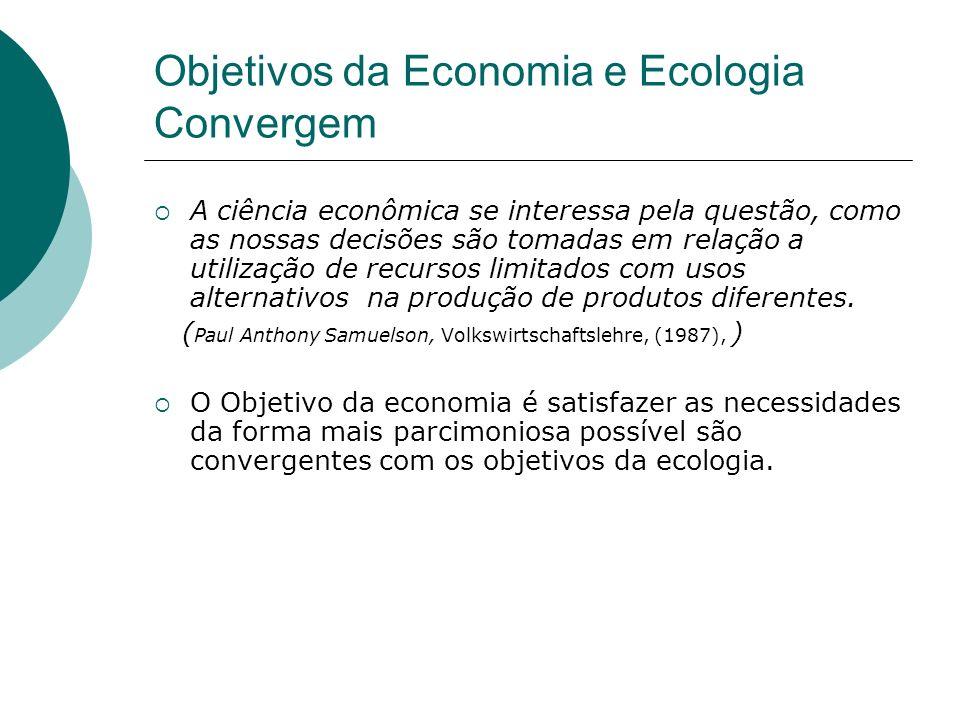 Objetivos da Economia e Ecologia Convergem A ciência econômica se interessa pela questão, como as nossas decisões são tomadas em relação a utilização