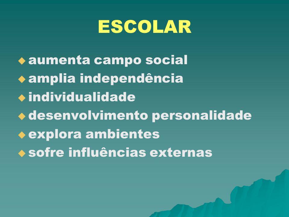 ESCOLAR aumenta campo social amplia independência individualidade desenvolvimento personalidade explora ambientes sofre influências externas