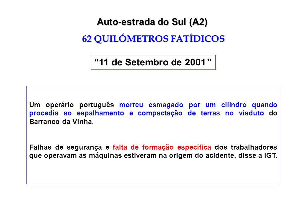 Um operário português morreu esmagado por um cilindro quando procedia ao espalhamento e compactação de terras no viaduto do Barranco da Vinha. Falhas