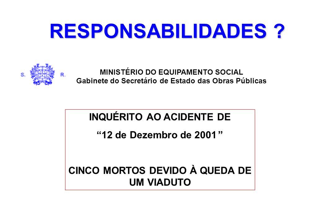 RESPONSABILIDADES ? INQUÉRITO AO ACIDENTE DE 12 de Dezembro de 2001 CINCO MORTOS DEVIDO À QUEDA DE UM VIADUTO MINISTÉRIO DO EQUIPAMENTO SOCIAL Gabinet