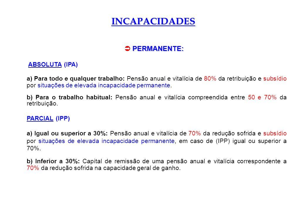INCAPACIDADES ABSOLUTA (IPA) a) Para todo e qualquer trabalho: Pensão anual e vitalícia de 80% da retribuição e subsídio por situações de elevada inca