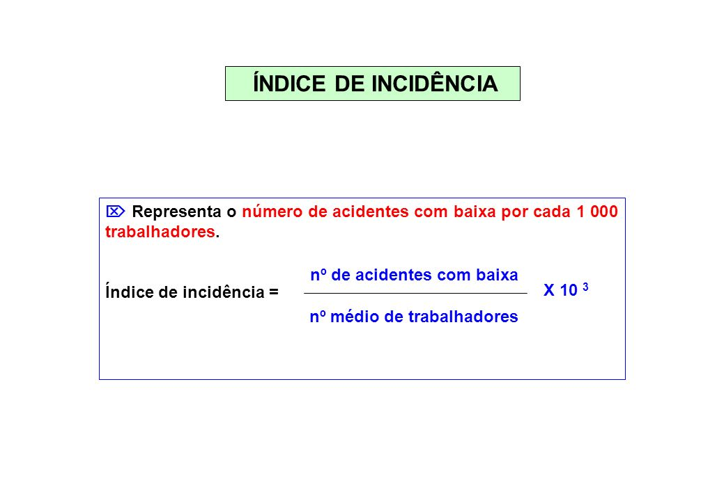 ÍNDICE DE INCIDÊNCIA Representa o número de acidentes com baixa por cada 1 000 trabalhadores. Índice de incidência = nº de acidentes com baixa nº médi