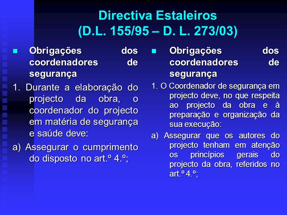 Directiva Estaleiros (D.L. 155/95 – D. L. 273/03) Obrigações dos coordenadores de segurança Obrigações dos coordenadores de segurança 1. Durante a ela