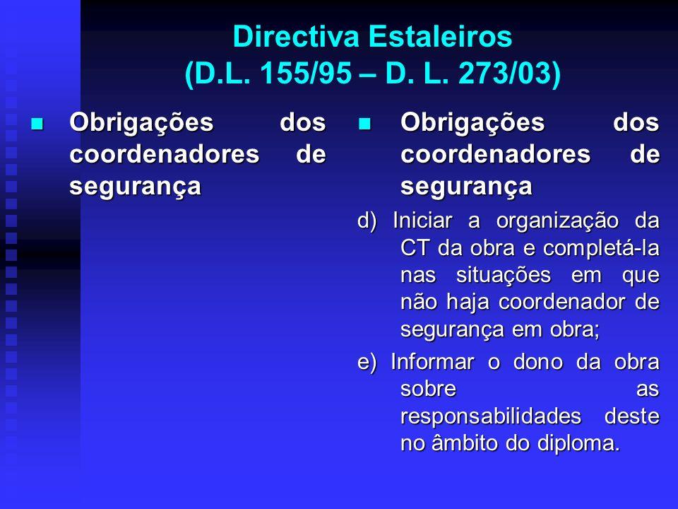 Directiva Estaleiros (D.L. 155/95 – D. L. 273/03) Obrigações dos coordenadores de segurança Obrigações dos coordenadores de segurança Obrigações dos c