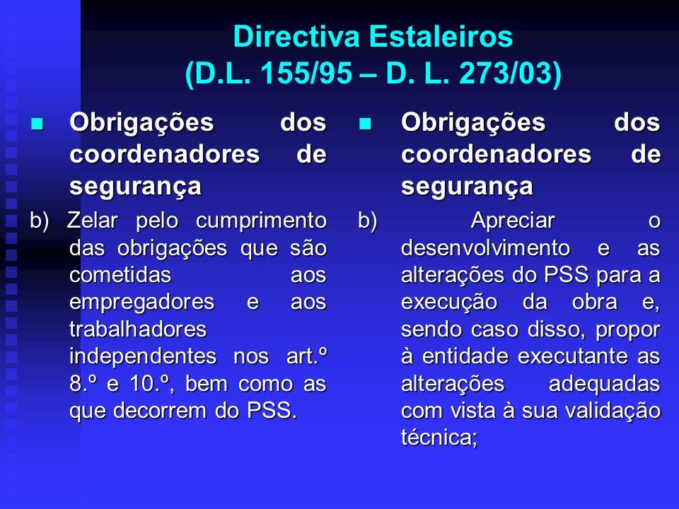 Directiva Estaleiros (D.L. 155/95 – D. L. 273/03) Obrigações dos coordenadores de segurança Obrigações dos coordenadores de segurança b) Zelar pelo cu