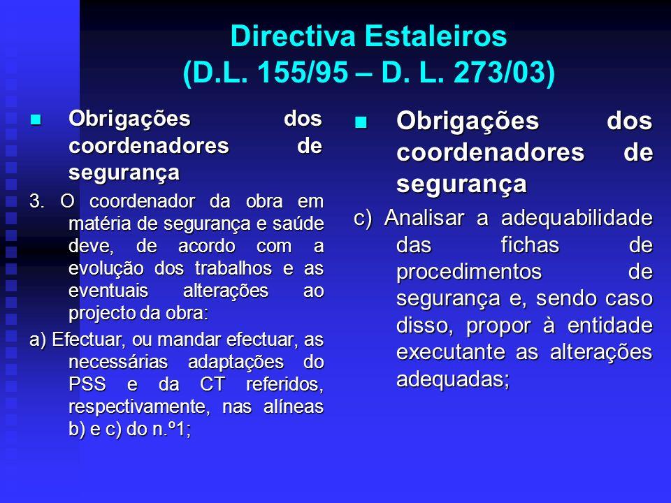 Directiva Estaleiros (D.L. 155/95 – D. L. 273/03) Obrigações dos coordenadores de segurança Obrigações dos coordenadores de segurança 3. O coordenador