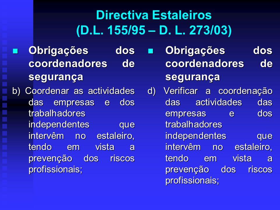 Directiva Estaleiros (D.L. 155/95 – D. L. 273/03) Obrigações dos coordenadores de segurança Obrigações dos coordenadores de segurança b) Coordenar as