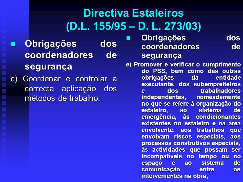 Directiva Estaleiros (D.L. 155/95 – D. L. 273/03) Obrigações dos coordenadores de segurança Obrigações dos coordenadores de segurança c) Coordenar e c