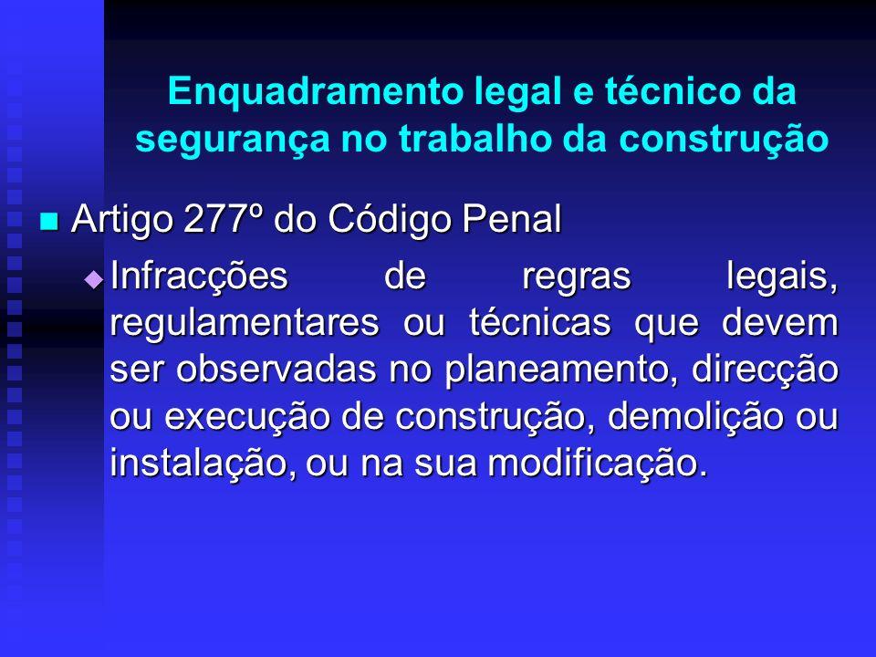 Enquadramento legal e técnico da segurança no trabalho da construção Artigo 277º do Código Penal Artigo 277º do Código Penal Infracções de regras lega