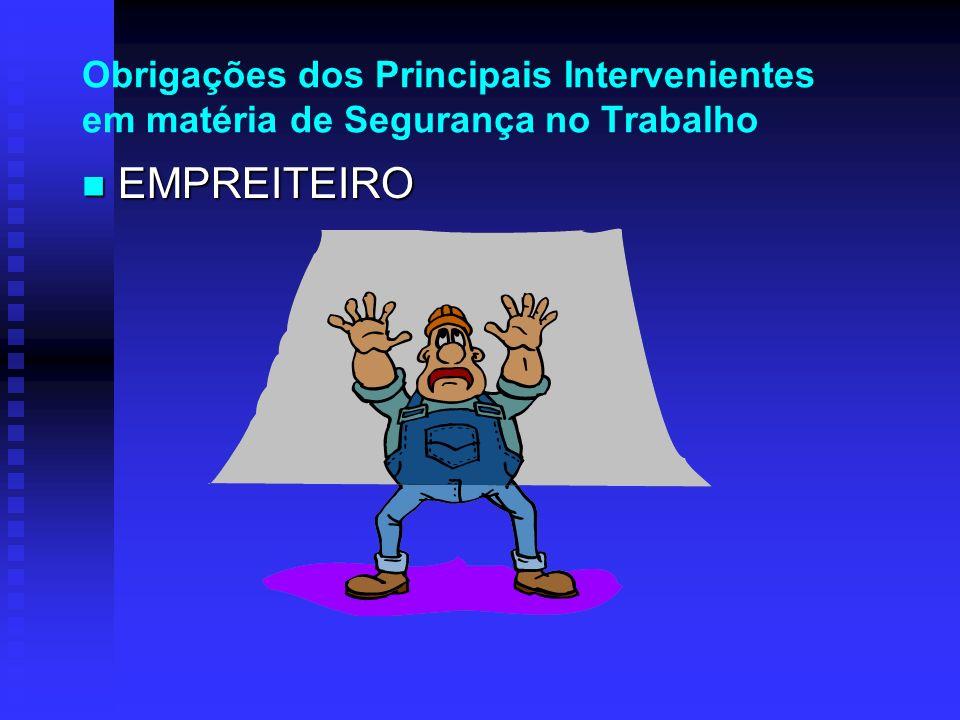 Obrigações dos Principais Intervenientes em matéria de Segurança no Trabalho EMPREITEIRO EMPREITEIRO