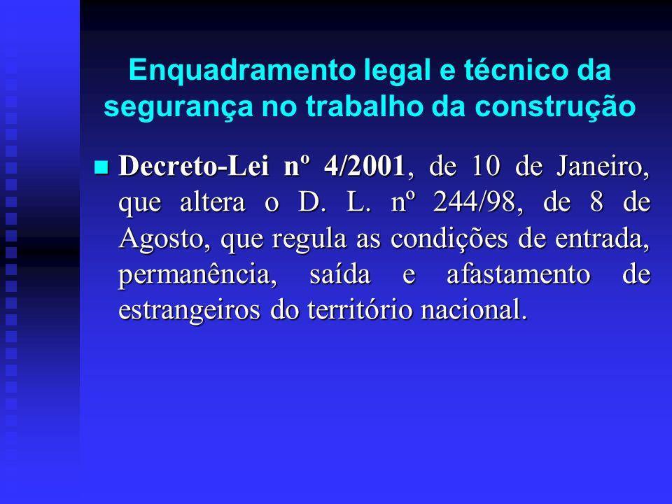 Enquadramento legal e técnico da segurança no trabalho da construção Decreto-Lei nº 4/2001, de 10 de Janeiro, que altera o D. L. nº 244/98, de 8 de Ag
