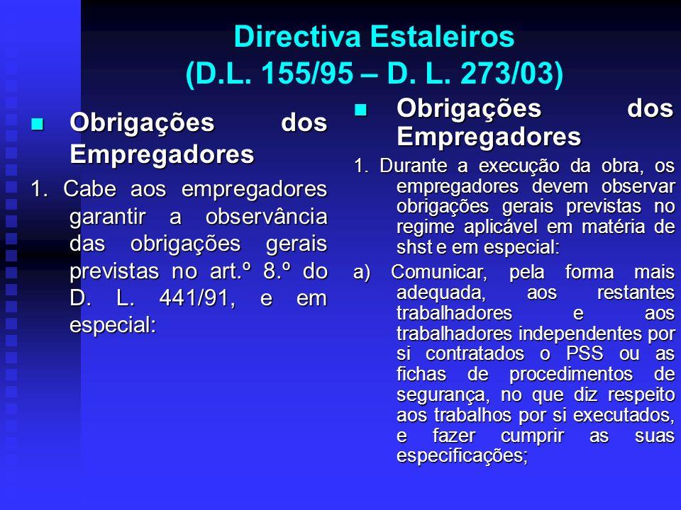 Directiva Estaleiros (D.L. 155/95 – D. L. 273/03) Obrigações dos Empregadores Obrigações dos Empregadores 1. Cabe aos empregadores garantir a observân
