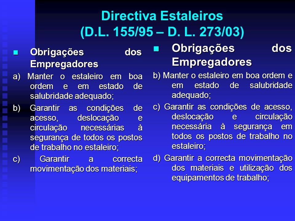 Directiva Estaleiros (D.L. 155/95 – D. L. 273/03) Obrigações dos Empregadores Obrigações dos Empregadores a) Manter o estaleiro em boa ordem e em esta
