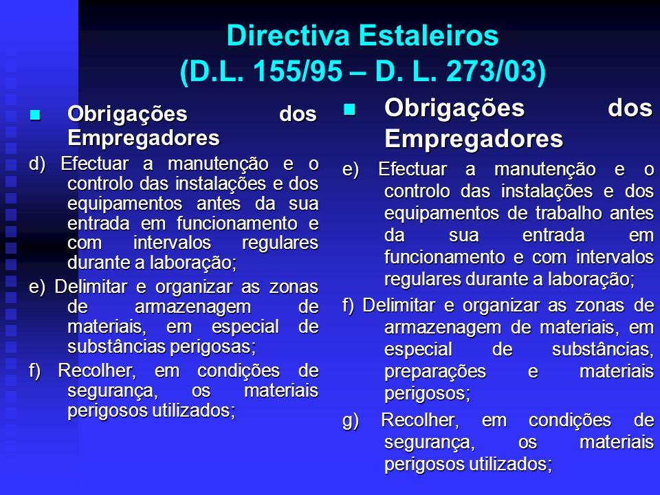 Directiva Estaleiros (D.L. 155/95 – D. L. 273/03) Obrigações dos Empregadores Obrigações dos Empregadores d) Efectuar a manutenção e o controlo das in