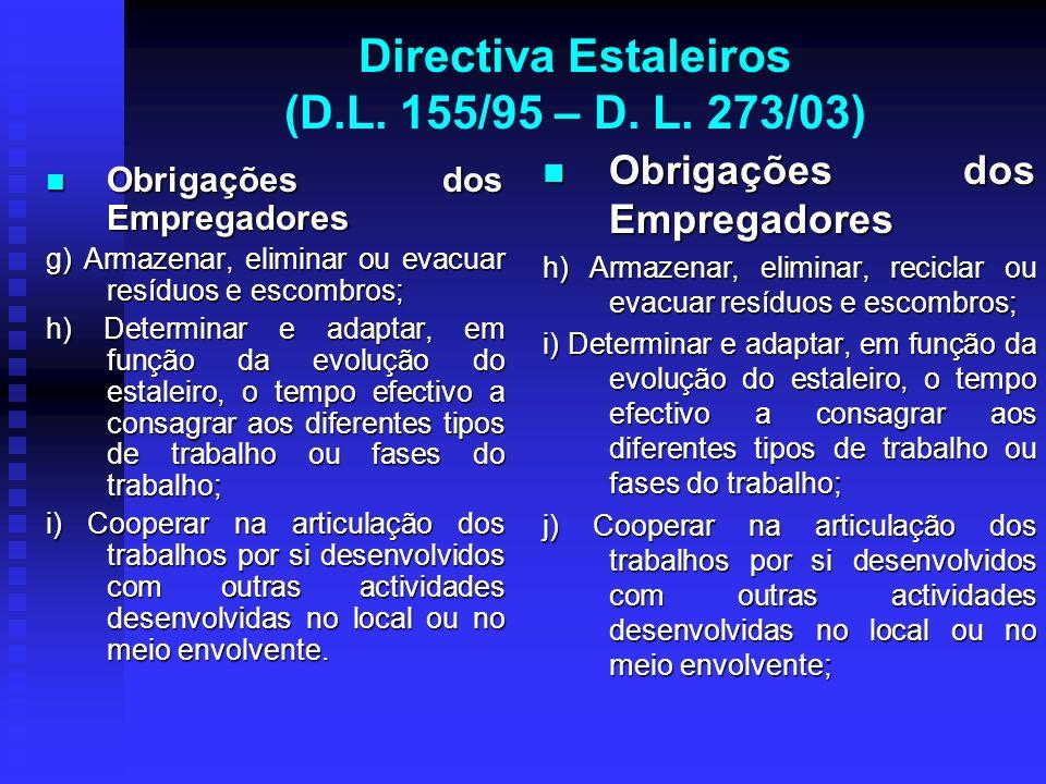 Directiva Estaleiros (D.L. 155/95 – D. L. 273/03) Obrigações dos Empregadores Obrigações dos Empregadores g) Armazenar, eliminar ou evacuar resíduos e