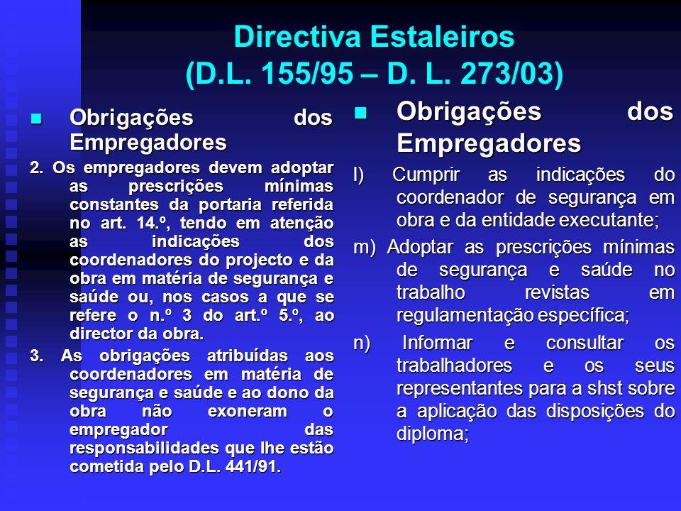 Directiva Estaleiros (D.L. 155/95 – D. L. 273/03) Obrigações dos Empregadores Obrigações dos Empregadores 2. Os empregadores devem adoptar as prescriç