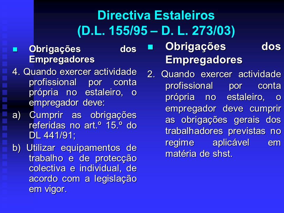 Directiva Estaleiros (D.L. 155/95 – D. L. 273/03) Obrigações dos Empregadores Obrigações dos Empregadores 4. Quando exercer actividade profissional po