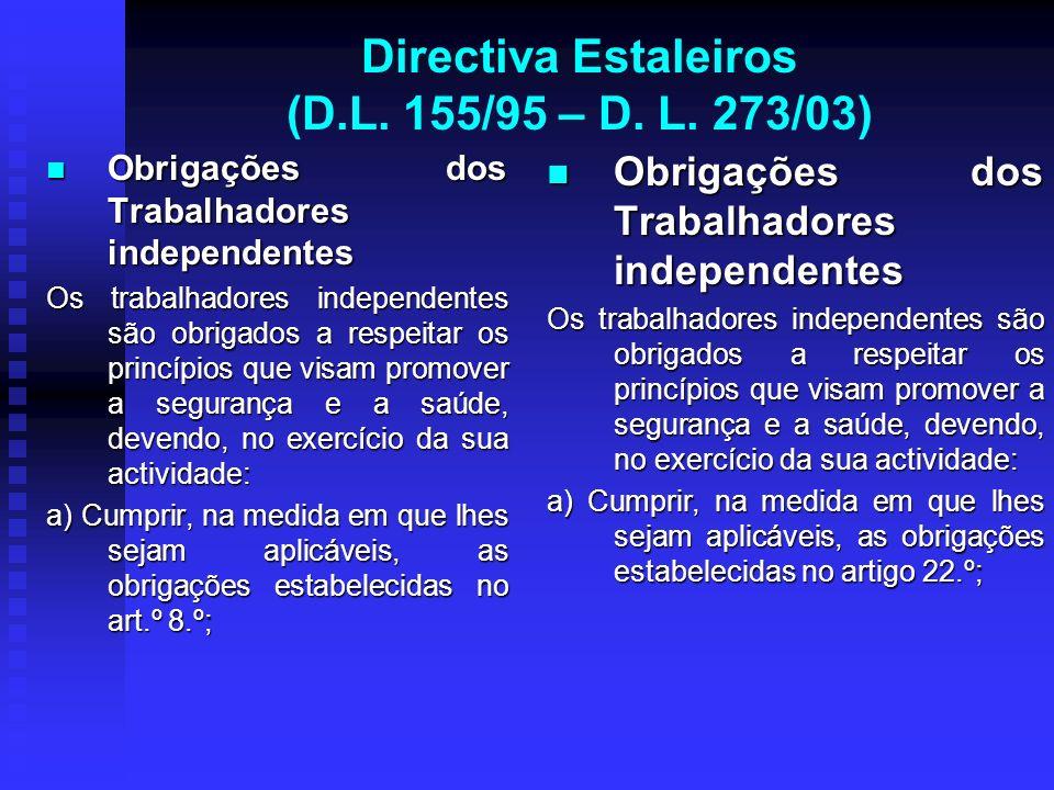 Directiva Estaleiros (D.L. 155/95 – D. L. 273/03) Obrigações dos Trabalhadores independentes Obrigações dos Trabalhadores independentes Os trabalhador