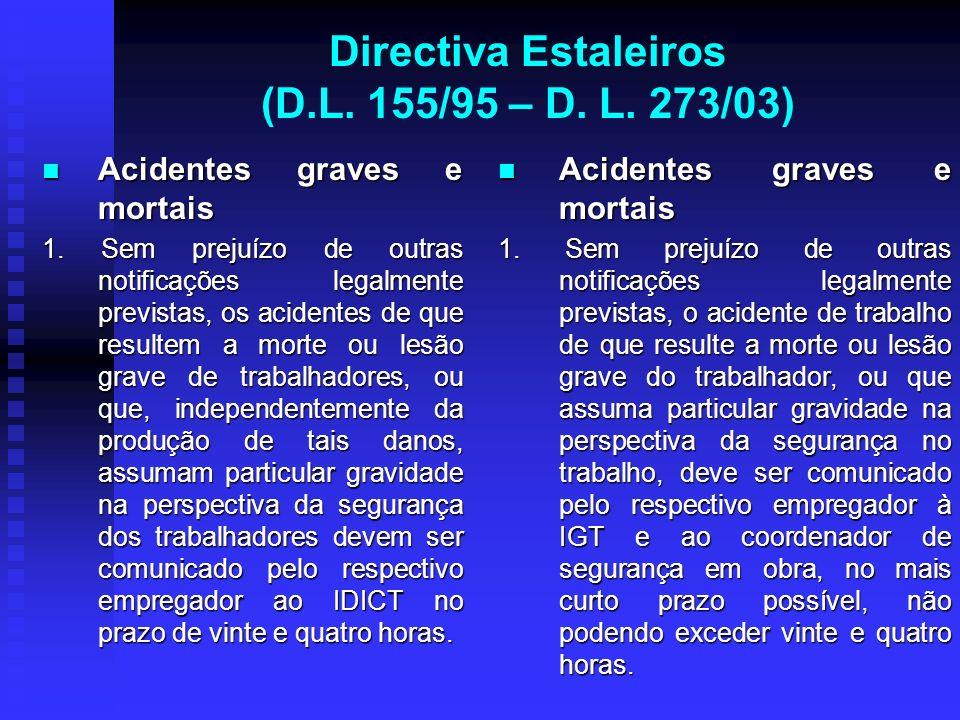 Directiva Estaleiros (D.L. 155/95 – D. L. 273/03) Acidentes graves e mortais Acidentes graves e mortais 1. Sem prejuízo de outras notificações legalme