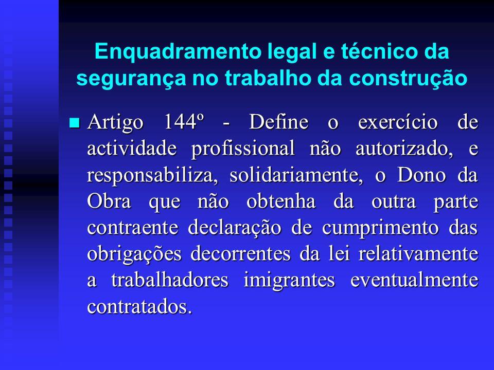 Enquadramento legal e técnico da segurança no trabalho da construção Artigo 144º - Define o exercício de actividade profissional não autorizado, e res