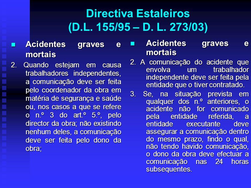 Directiva Estaleiros (D.L. 155/95 – D. L. 273/03) Acidentes graves e mortais Acidentes graves e mortais 2. Quando estejam em causa trabalhadores indep