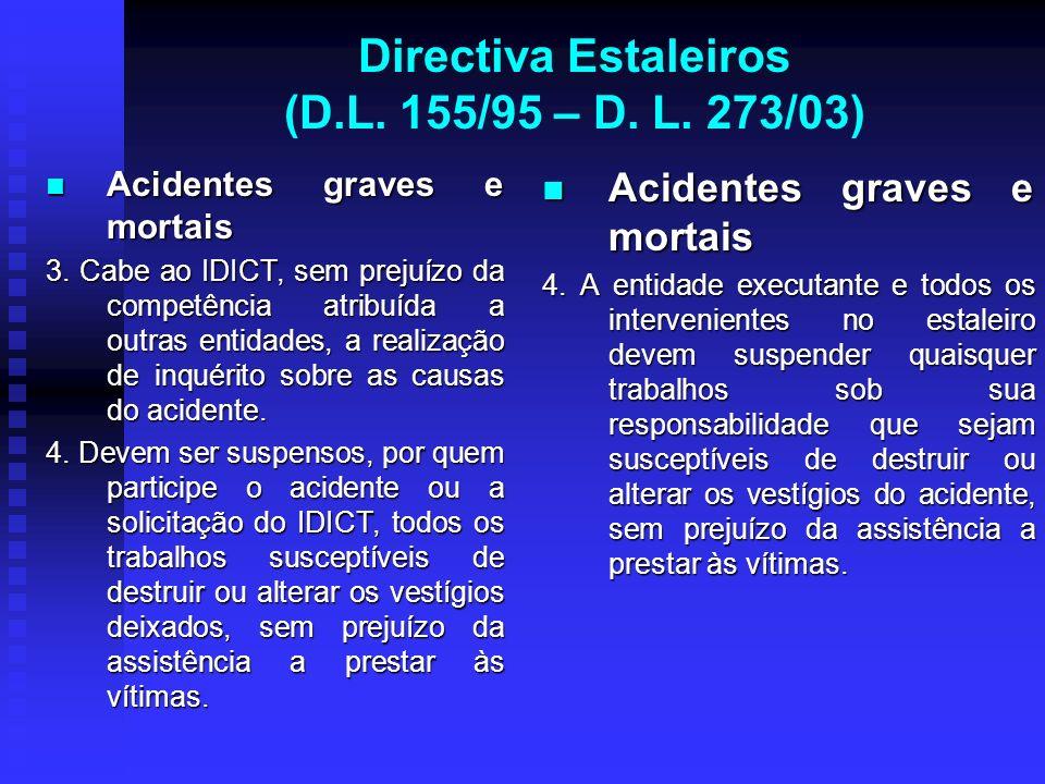 Directiva Estaleiros (D.L. 155/95 – D. L. 273/03) Acidentes graves e mortais Acidentes graves e mortais 3. Cabe ao IDICT, sem prejuízo da competência