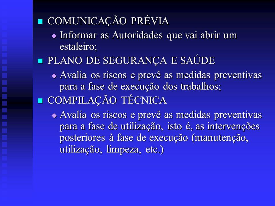 COMUNICAÇÃO PRÉVIA COMUNICAÇÃO PRÉVIA Informar as Autoridades que vai abrir um estaleiro; Informar as Autoridades que vai abrir um estaleiro; PLANO DE