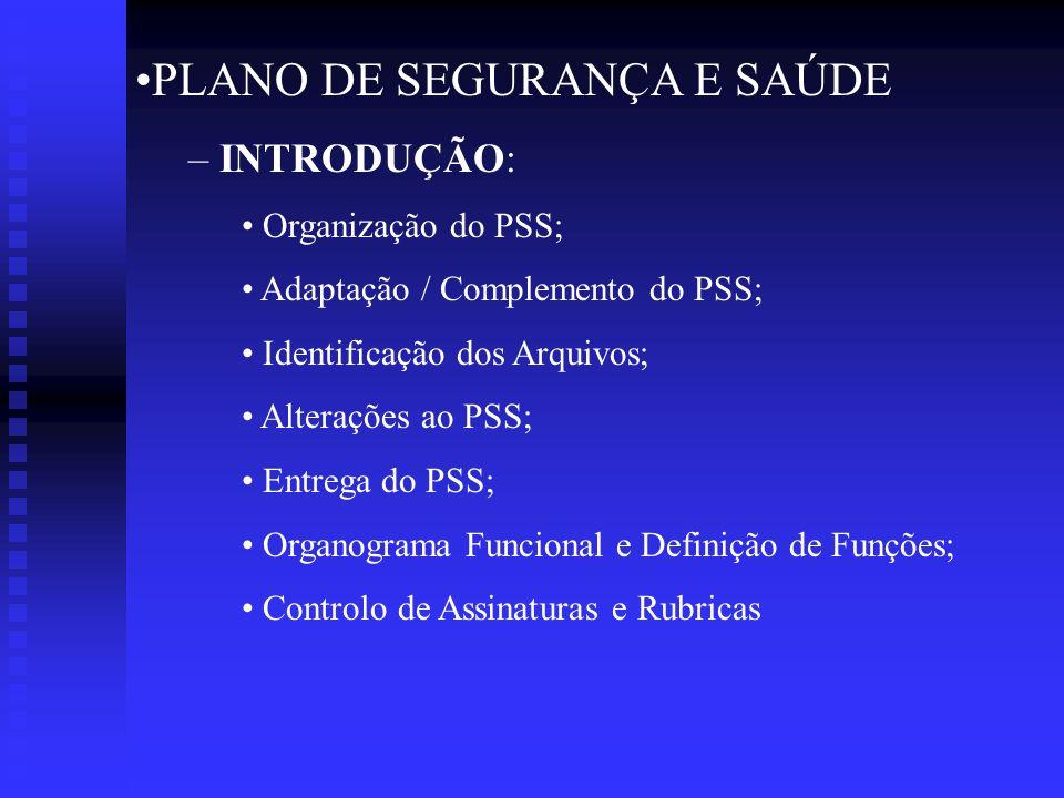 PLANO DE SEGURANÇA E SAÚDE – INTRODUÇÃO: Organização do PSS; Adaptação / Complemento do PSS; Identificação dos Arquivos; Alterações ao PSS; Entrega do